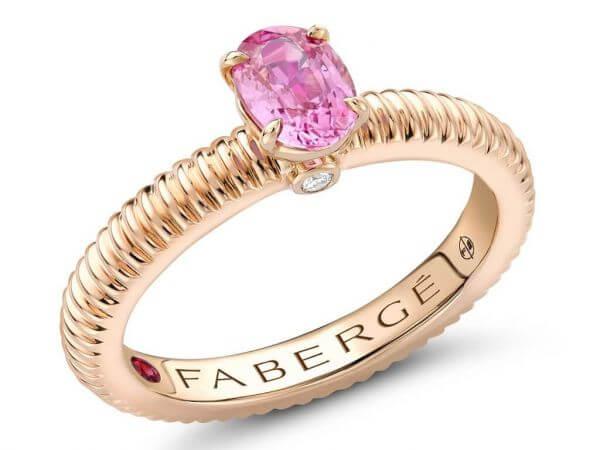 Fabergé Ring Roségold mit pink Safir