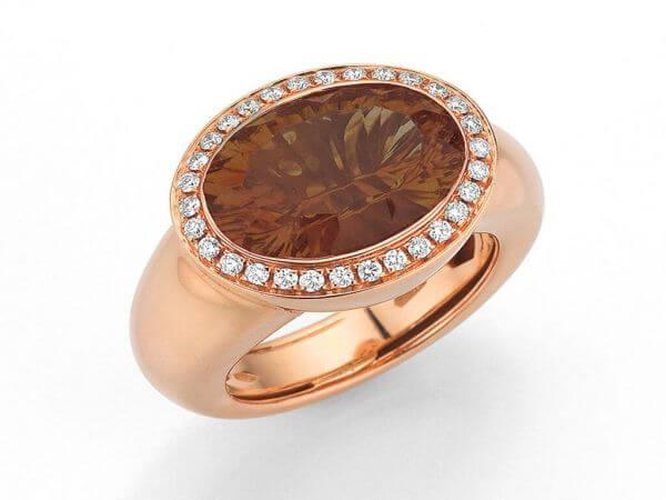 Ring Roségold Rauchquarz und Diamanten