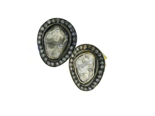 Ohrringe Silber und 750 Gelbgold Diamant