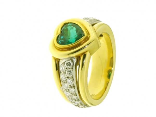 Ring 750 gelb/Weißgold Smaragd,Brillant