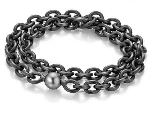 Armband schwarz ionisiert, Tahiti Perle
