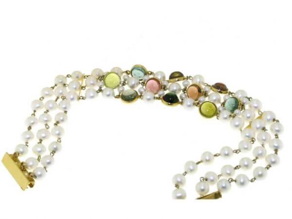 Armband Süßwasser Perlen und Turmaline
