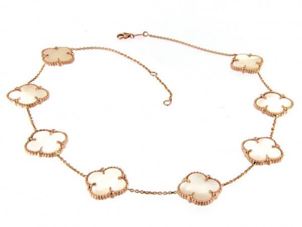 Collier aus Roségold mit Perlmutt