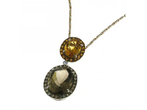 Collier mit Diamanten,Citrin,Rauchquarz