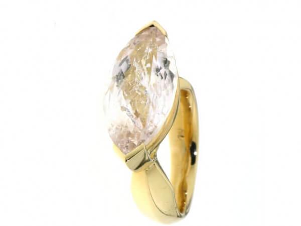 Ring 750/Roségold Morganit Navette