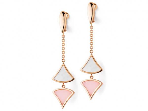 Ohrringe Roségold pink Opal und Perlmutt