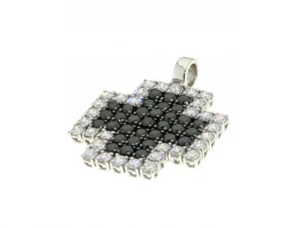 Anhänger Kreuz weiße,schwarze Diamanten