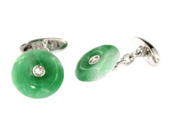 Manschettenknöpfe mit Jade und Brillant