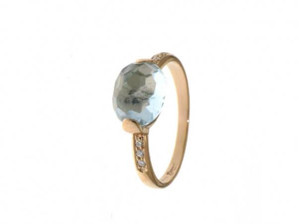 ing 750 Rosegold Blautopas,Diamanten
