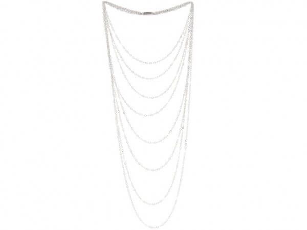 Halskette 7 reihig poliertes Silber
