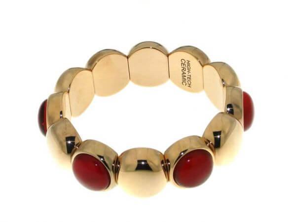Armband Keramik mit 6 roten Dupletten