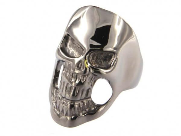 Ring Totenkopf Silber schwarz rhodiniert