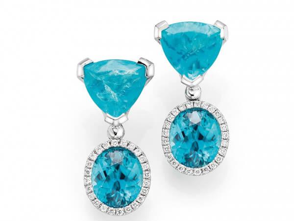 Ohrringe mit Apatite und blaue Zirkone