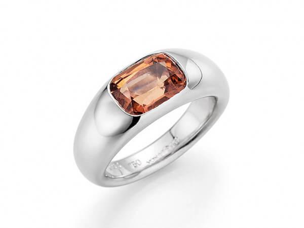Ring Weißgold mit lachsfarbenem Turmalin