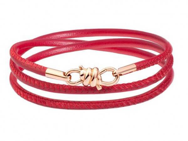 Dodo Armband Nodo mit rotem Lederband