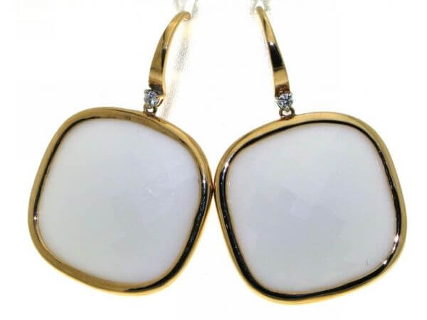 Ohrringe Roségold mit weißen Opalen
