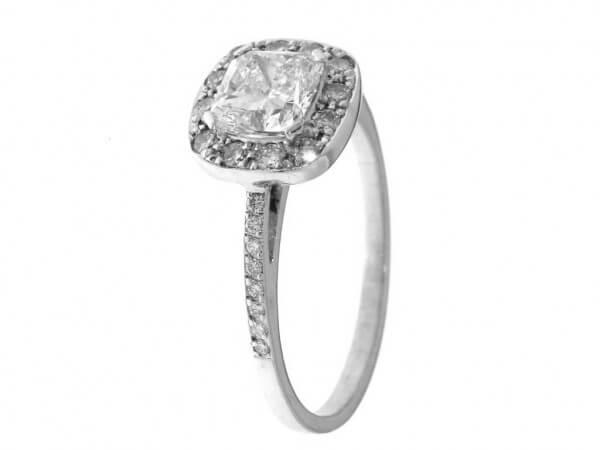 Ring 750 Weißgold Diamant Kuschenschliff