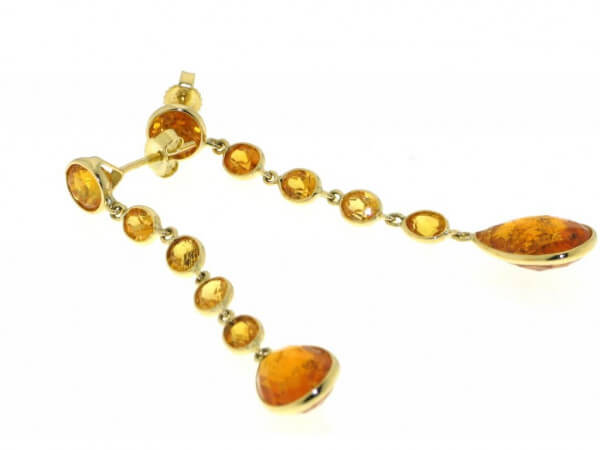 Ohrhänger Gelbgold mit Madarin Granaten