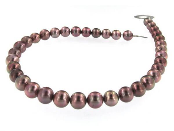 Tahiti Perlkette braun 10 - 12 mm