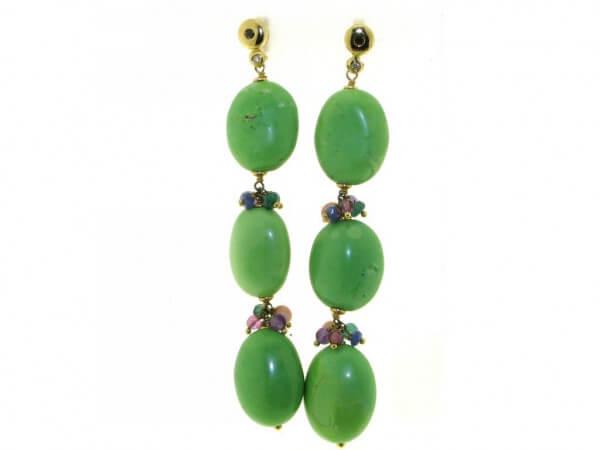 Ohrringe 750GG Jade Opal Turmalin