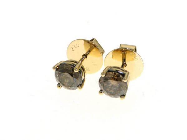 Ohrringe Roségold mit braunen Brillanten