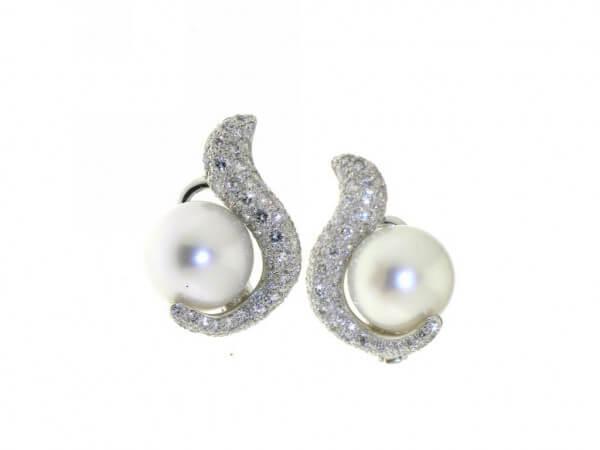 Ohrringe Weißgold Südsee Perlen,Brillant