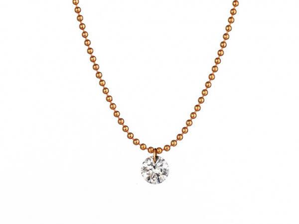 Collier Roségold mit schwebendem Diamant