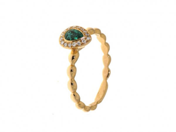 Ring aus Roségold Smaragd und Brillant