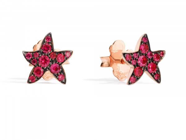 Dodo Ohrringe Seesterne mit Rubinen