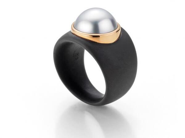 Ring schwarz ionisiert,Südsee Perle