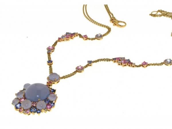 Collier Roségold Calcedon,Safir,Diamant