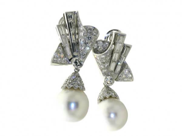 Ohrringe Weißgold Südsee Perle,Diamant