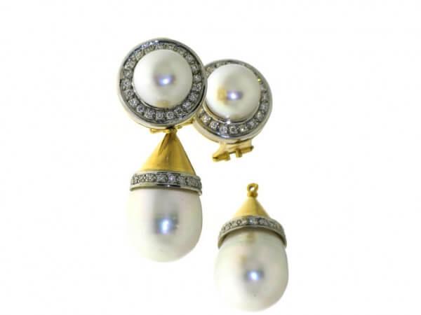 Ohrringe Südsee Perlen und Brillanten