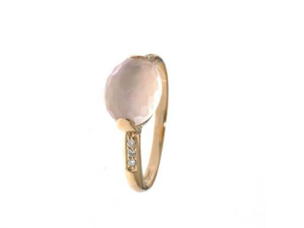 Ring 750 Rosegold Rosenquarz,Diamanten
