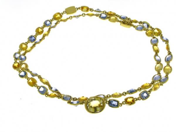 Collier Gelbgold gelbe und blaue Safire