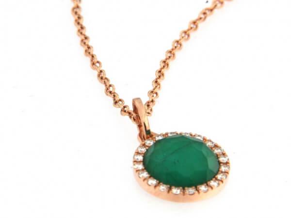 Collier Roségold mit Smaragd Triplette