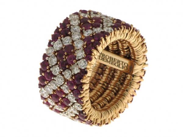 Ring aus Roségold Rubine und Brillanten