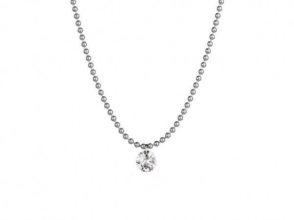 Collier Weißgold mit schwebendem Diamant