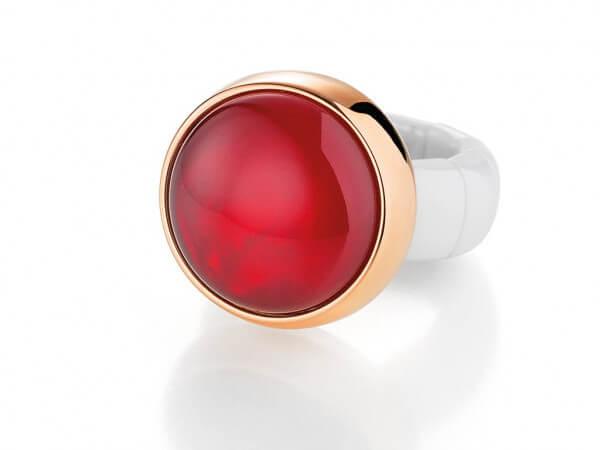Ring aus Keramik mit roter Duplette