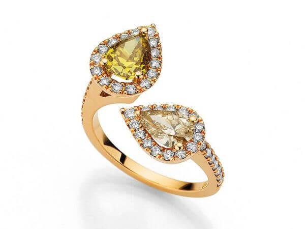 Ring aus Roségold mit 2 Diamanttropfen