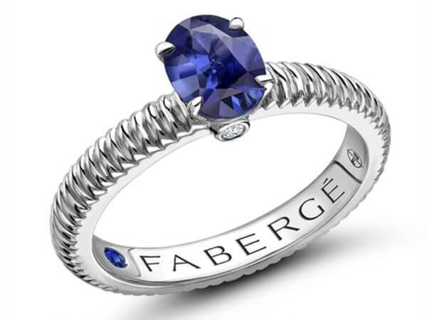 Fabergé Ring aus Weißgold mit Safir