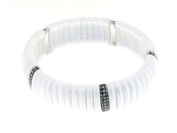 Armband weiße Keramik und Weißgold