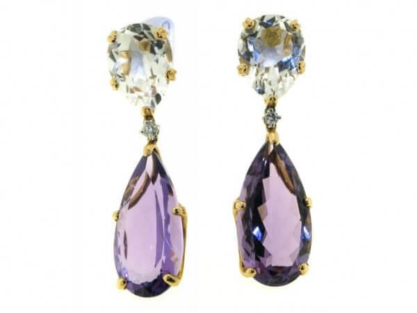 Ohrringe Rosegold Amethyst,Bergkristall