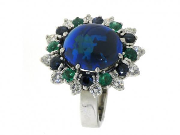 Ring 750 Weißgold Opal,Smaragde,Safire