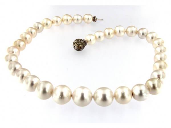 Südsee Perlkette 12-16mm,Diamantschließe