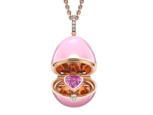 Faberge Ei Anhänger pink Lack,Safir Herz