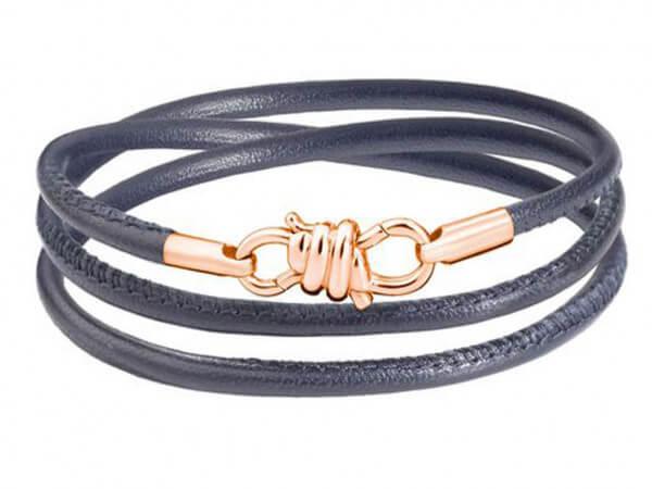 Dodo Armband Nodo mit grauem Lederband