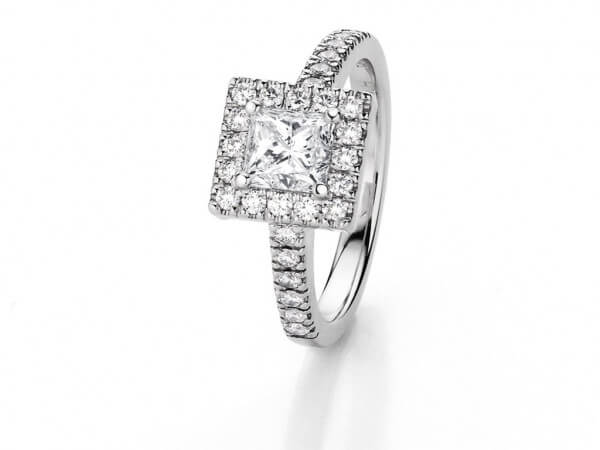 Ring Weißgold 1 Princess Diamant 1,01 ct