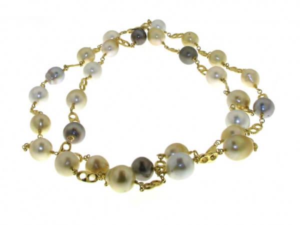 Kette Gelbgold Südsee und Tahiti Perlen