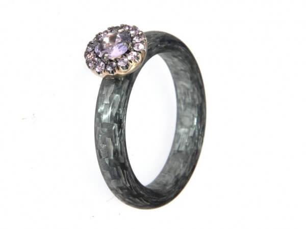 Ring Alutex 4mm Weißgold mit pink Safir
